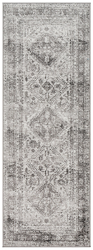 "Machine Woven Monte Carlo 2'7"" x 7'3"" Runner, Ash Gray, large"