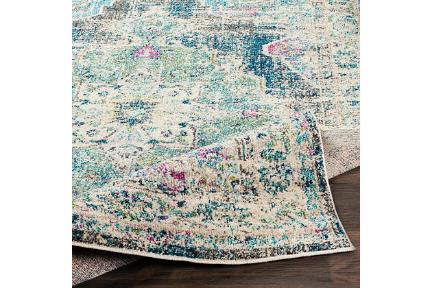 "Machine Woven Morocco 5'3"" x 7'3"" Area Rug, Teal, large"