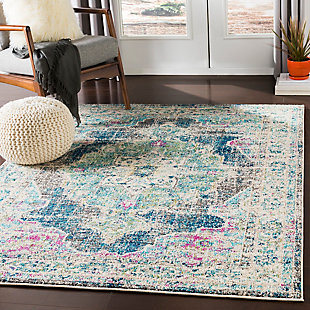 "Machine Woven Morocco 5'3"" x 7'3"" Area Rug, Teal, rollover"