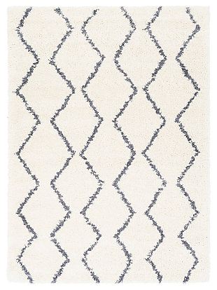 "Machine Woven Maroc 6'7"" x 9' Area Rug, Charcoal/Cream, large"