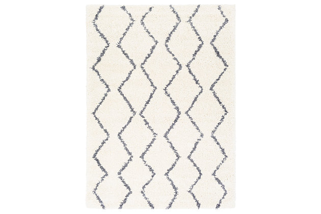 "Machine Woven Maroc 6'7"" x 9' Area Rug, Charcoal/Cream, large"