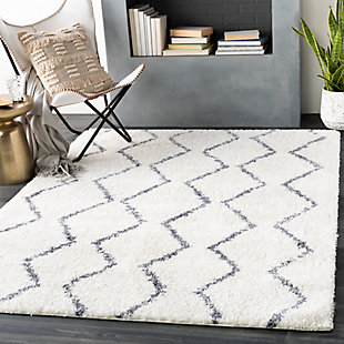 "Machine Woven Maroc 6'7"" x 9' Area Rug, Charcoal/Cream, rollover"