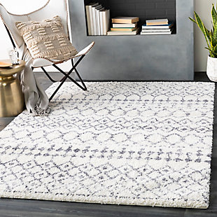 "Machine Woven Maroc 5'3"" x 7'3"" Area Rug, Charcoal/Cream, rollover"