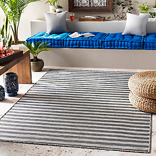 "Machine Woven Pasadena 7'10"" x 10'2"" Area Rug, Medium Gray, rollover"