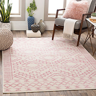 "Machine Woven Ustad 7'10"" x 10'2"" Area Rug, Pale Pink/Cream, rollover"