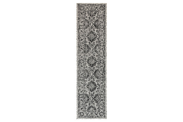 """Liora Manne Mateo Floral Medallion Indoor/Outdoor Rug 23"""" x 7'6"""", Black, large"""