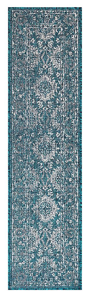 """Liora Manne Mateo Floral Medallion Indoor/Outdoor Rug 23"""" x 7'6"""", Blue, large"""