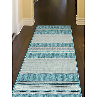 "Liora Manne Mateo Broad Stripe Indoor/Outdoor Rug 23"" x 7'6"", Blue, large"