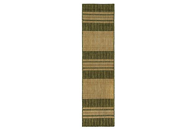 "Liora Manne Mateo Broad Stripe Indoor/Outdoor Rug 23"" x 7'6"", Green, large"
