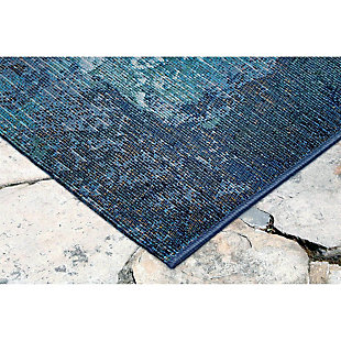 "Liora Manne Gorham Medallion Indoor/Outdoor Rug 23"" x 7'6"", Blue, large"
