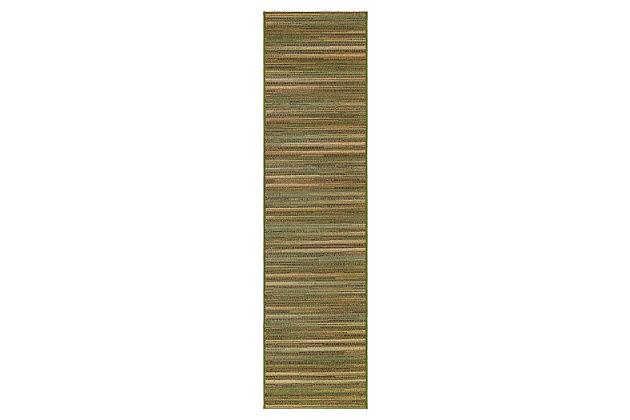 """Liora Manne Gorham Pinstripe Indoor/Outdoor Rug 23"""" x 7'6"""", Green, large"""