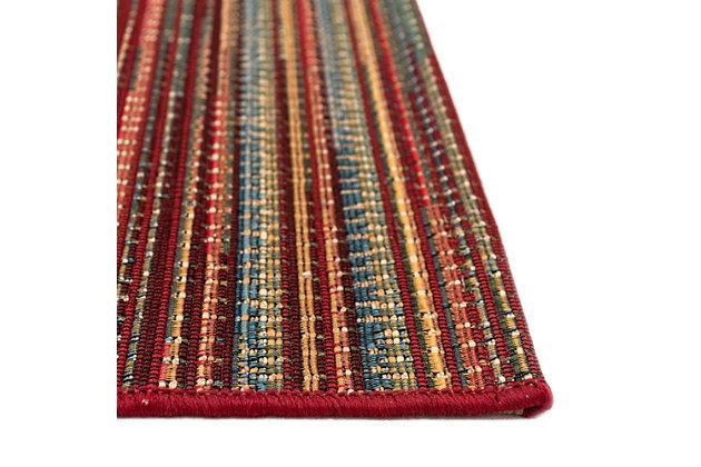 """Liora Manne Gorham Pinstripe Indoor/Outdoor Rug 23"""" x 7'6"""", Red, large"""