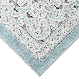 "Liora Manne Taloni Diamond Medallion Indoor/Outdoor Rug 23"" x 7'6"", Blue, large"
