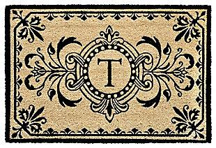 """Liora Manne Hunter Monogram Outdoor Rug 24"""" x 36"""", Black, large"""