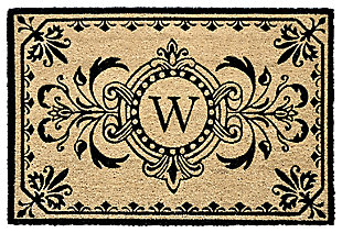 "Liora Manne Hunter Monogram Outdoor Rug 24"" x 36"", Black, large"