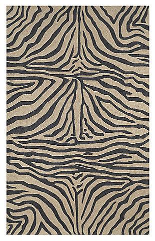 """Liora Manne Highlands Safari Indoor/Outdoor Rug 42"""" x 66"""", Black, large"""