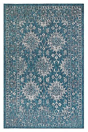 """Liora Manne Mateo Floral Medallion Indoor/Outdoor Rug 4'10"""" x 7'6"""", Blue, large"""