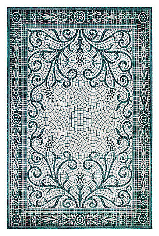 "Liora Manne Mateo Montage Indoor/Outdoor Rug 4'10"" x 7'6"", Blue, large"