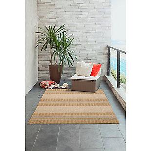 "Liora Manne Mateo Broad Stripe Indoor/Outdoor Rug 4'10"" x 7'6"", Khaki, large"