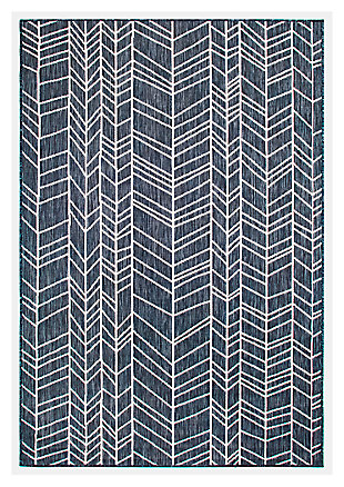 "Liora Manne Mateo Rafter Indoor/Outdoor Rug 4'10"" x 7'6"", Navy, large"