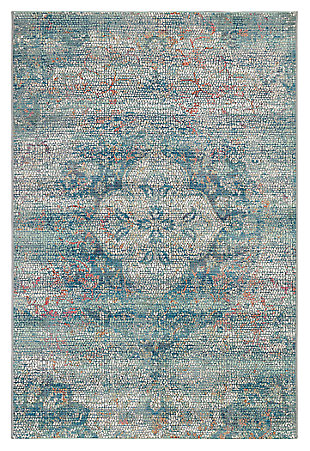 "Liora Manne Gorham Mosaic Floral Indoor/Outdoor Rug 4'10"" x 7'6"", Blue, large"