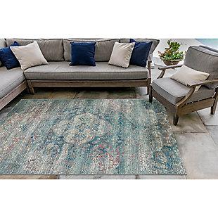 """Liora Manne Gorham Mosaic Floral Indoor/Outdoor Rug 4'10"""" x 7'6"""", Blue, rollover"""