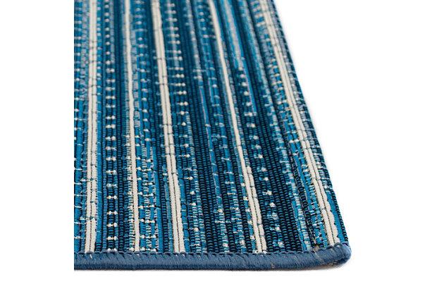 """Liora Manne Gorham Pinstripe Indoor/Outdoor Rug 4'10"""" x 7'6"""", Blue, large"""