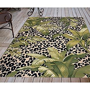 "Liora Manne Gorham Jungle Floral Indoor/Outdoor Rug 4'10"" x 7'6"", Green, rollover"