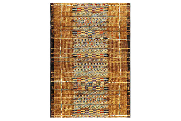 """Liora Manne Gorham Decorative Stripe Indoor/Outdoor Rug 4'10"""" x 7'6"""", Gold, large"""