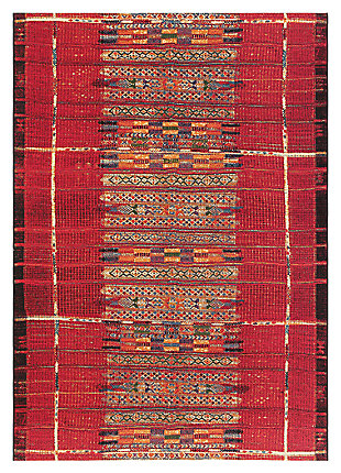 "Liora Manne Gorham Decorative Stripe Indoor/Outdoor Rug 4'10"" x 7'6"", Red, large"