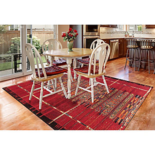 "Liora Manne Gorham Decorative Stripe Indoor/Outdoor Rug 4'10"" x 7'6"", Red, rollover"