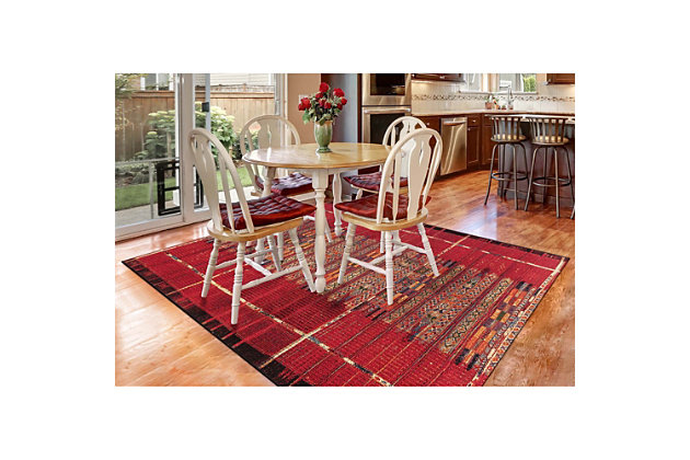 """Liora Manne Gorham Decorative Stripe Indoor/Outdoor Rug 4'10"""" x 7'6"""", Red, large"""