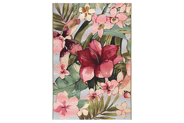 "Liora Manne Gorham Island Blooms Indoor/Outdoor Rug 4'10"" x 7'6"", Multi, large"