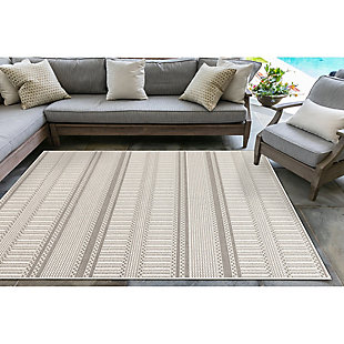 "Liora Manne Westbrook Tailor Stripe Indoor/Outdoor Rug 4'10"" x 7'6"", Gray, rollover"