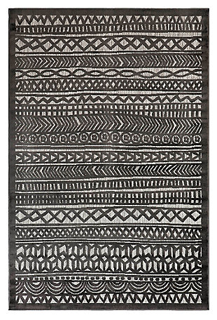 "Liora Manne Taloni Bengal Stripe Indoor/Outdoor Rug 4'10"" x 7'6"", Gray, large"