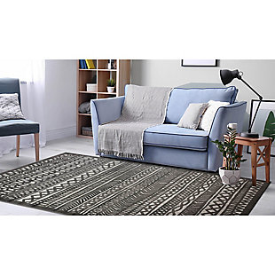 "Liora Manne Taloni Bengal Stripe Indoor/Outdoor Rug 4'10"" x 7'6"", Gray, rollover"