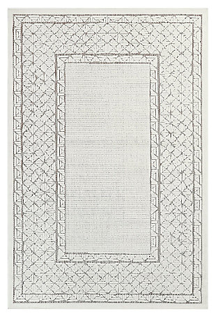 "Liora Manne Taloni Geo Border Indoor/Outdoor Rug 4'10"" x 7'6"", Ivory, large"