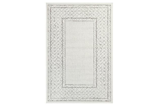 "Liora Manne Taloni Geo Border Indoor/Outdoor Rug 4'10"" x 7'6"", Ivory, large"