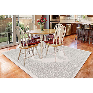 "Liora Manne Taloni Diamond Medallion Indoor/Outdoor Rug 4'10"" x 7'6"", Ivory, large"