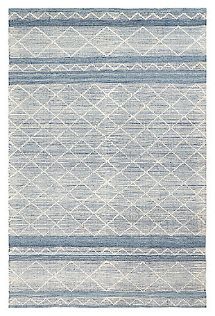 "Liora Manne Corfu Geo Stripe Indoor/Outdoor Rug 5' x 7'6"", Blue, large"