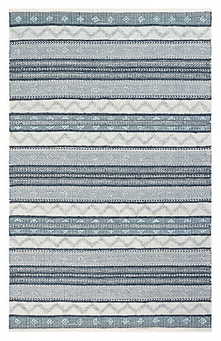 "Liora Manne Bohemian Diamond Stripe Indoor/Outdoor Rug 5' x 7'6"", Gray, large"