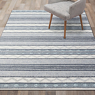 "Liora Manne Bohemian Diamond Stripe Indoor/Outdoor Rug 5' x 7'6"", Gray, rollover"