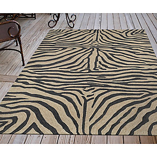 "Liora Manne Highlands Safari Indoor/Outdoor Rug 5' x 7'6"", Black, rollover"