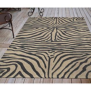 "Liora Manne Highlands Safari Indoor/Outdoor Rug 5' x 7'6"", Black, rollover"
