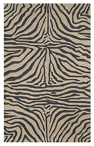 """Liora Manne Highlands Safari Indoor/Outdoor Rug 5' x 7'6"""", Black, large"""