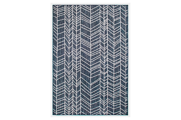 "Liora Manne Mateo Rafter Indoor/Outdoor Rug 6'6"" x 9'4"", Navy, large"