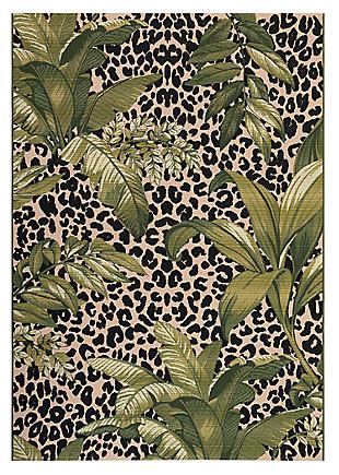 """Liora Manne Gorham Jungle Floral Indoor/Outdoor Rug 6'6"""" x 9'4"""", Green, large"""