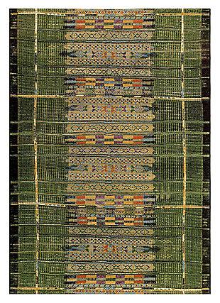 """Liora Manne Gorham Decorative Stripe Indoor/Outdoor Rug 6'6"""" x 9'4"""", Green, large"""