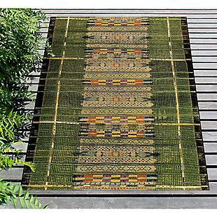 """Liora Manne Gorham Decorative Stripe Indoor/Outdoor Rug 6'6"""" x 9'4"""", Green, rollover"""