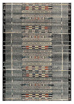 "Liora Manne Gorham Decorative Stripe Indoor/Outdoor Rug 6'6"" x 9'4"", Black, large"